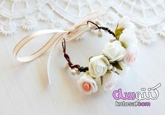 اساور لليد من الورود لاقارب العروس اساور ورد صديقات العروس اساور اصحاب العروسة اساور ورد لليد 2020 Knto Wrist Corsage Bridal Cuff Bracelet Prom Flowers Corsage