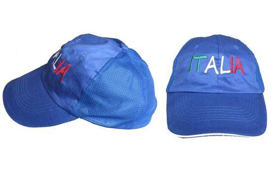 Lotto 20 Cappelli con visiera regolabili Azzurri Cotone aereato scritta Italia
