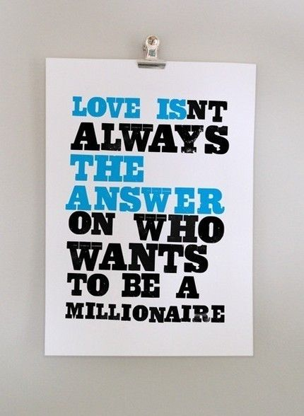 love isnt always the answer on who wants to be a millionaire $19