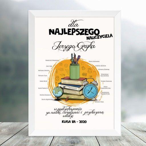 Plakat Dla Nauczyciela Globus Personalizowany Book Cover School