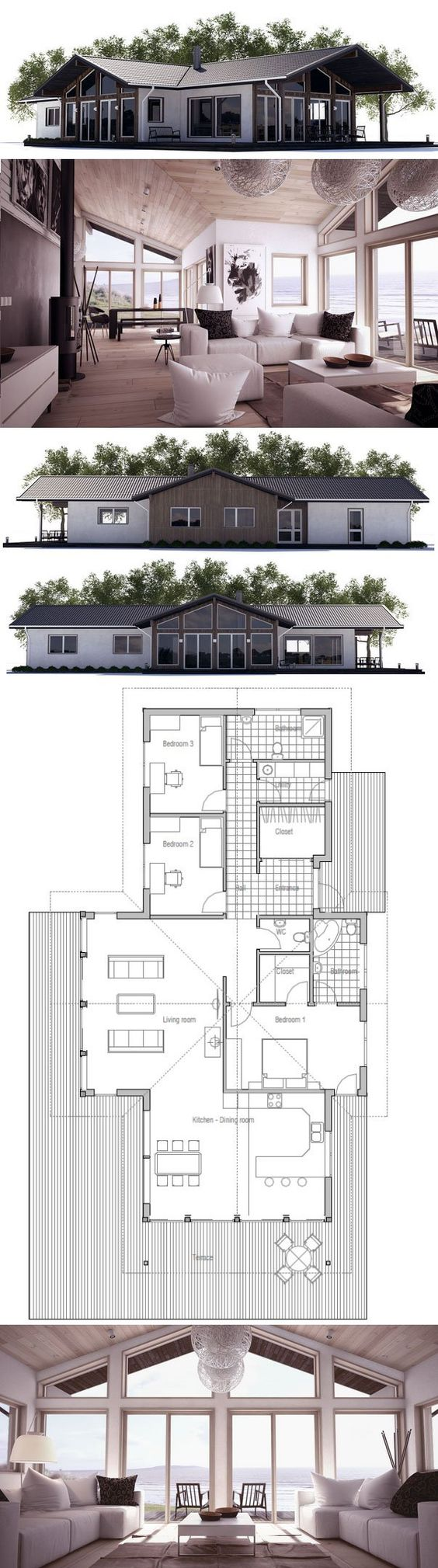 Small house plan with three bedrooms and open planning for Concept home com
