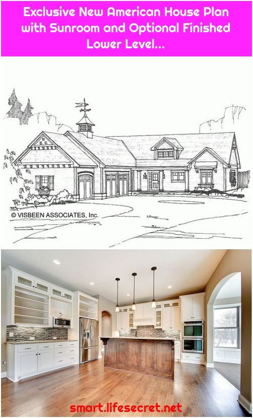 Exclusive New American House Plan With Sunroom And Optional Finished Lower Level American Houses House Plans Bungalow House Plans
