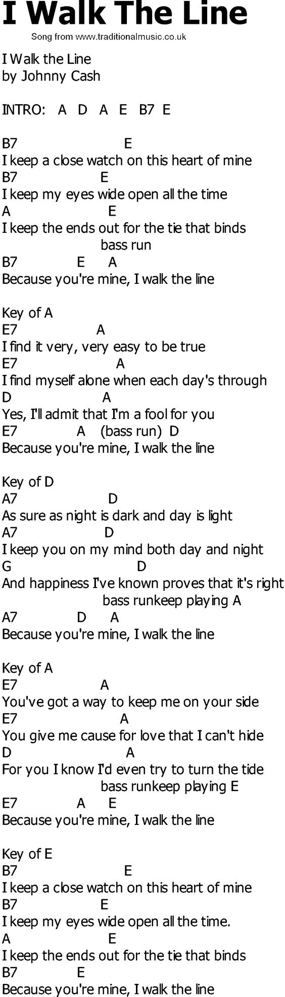 Old Country song lyrics with chords - I Walk The Line