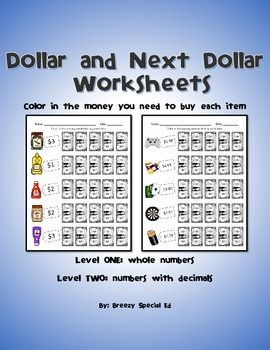 special education next dollar up and dollar color in money worksheets money colors and student. Black Bedroom Furniture Sets. Home Design Ideas