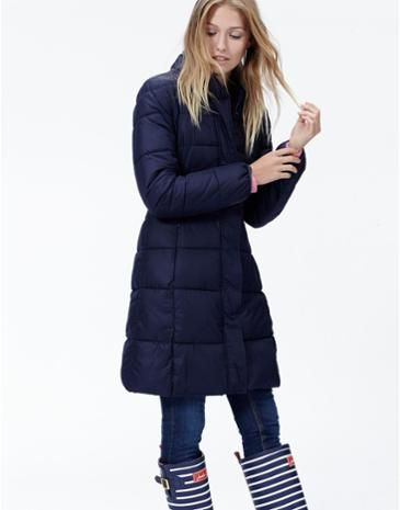Joules Long Line Padded Coat in Marine Navy. A warm quilted