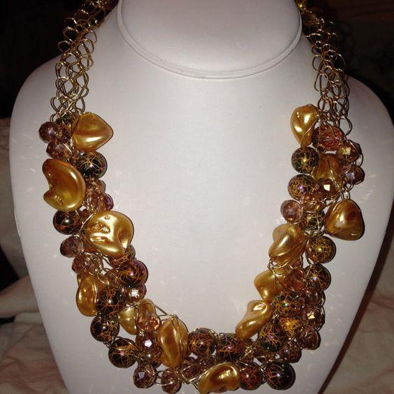 Chunky Crocheted Beaded Necklace Crystal by SallysCustomGlass, $60.00
