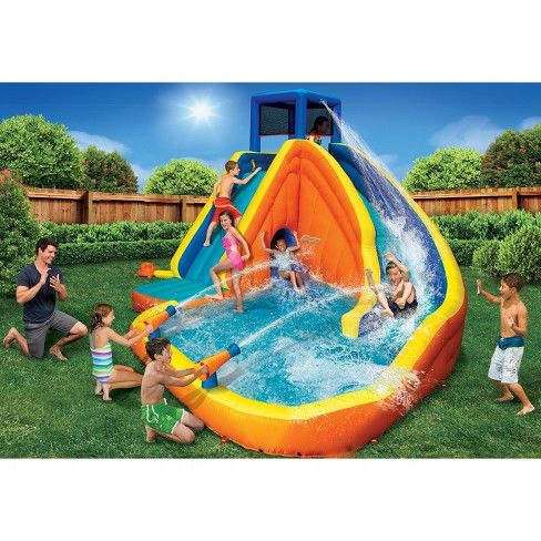 Banzai 90494 Sidewinder Falls Inflatable Water Slide With Tunnel Ramp Slide Target Inflatable Water Park Splash Water Park Water Slides