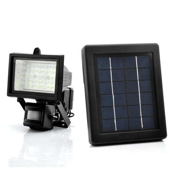 Powered by the sun, this flood light offers wire-free installation and energy-saving security that works great in remote or difficult to access locations such as sheds, rooftops, detached garages, and other outdoor buildings. . After dark, the unit's built-in motion detector turns the light on automatically upon detecting motion, and then turns it off after a user-defined timer setting...Learn More