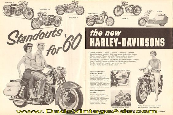 "1960 Harley-Davidson Motorcycle Magazine Advertisement – ""Standouts for '60″"