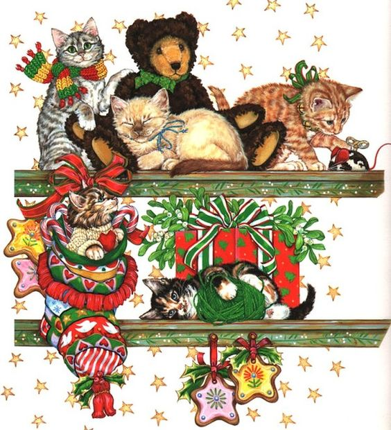 Christmas cats by Donna Race
