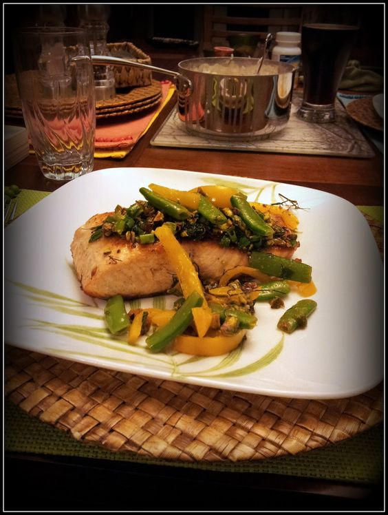 Salmon with yellow peppers, snap peas, and dill pistachio pistou. My ...