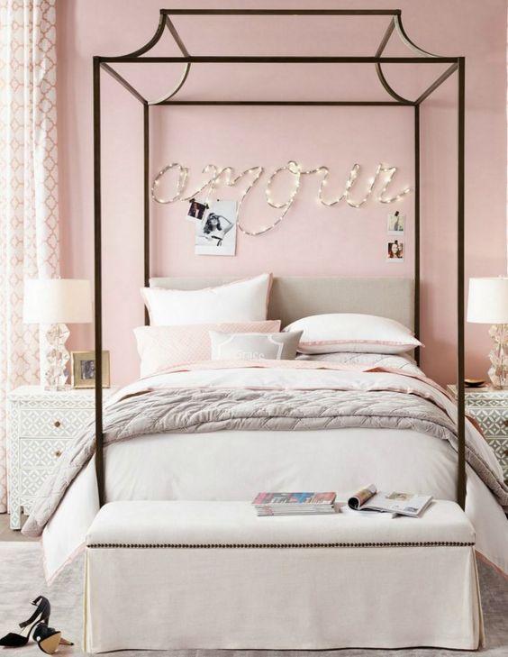 Pink Light Bedroom Cute Lady Girl Bedroom Idea Bed Frame Pink