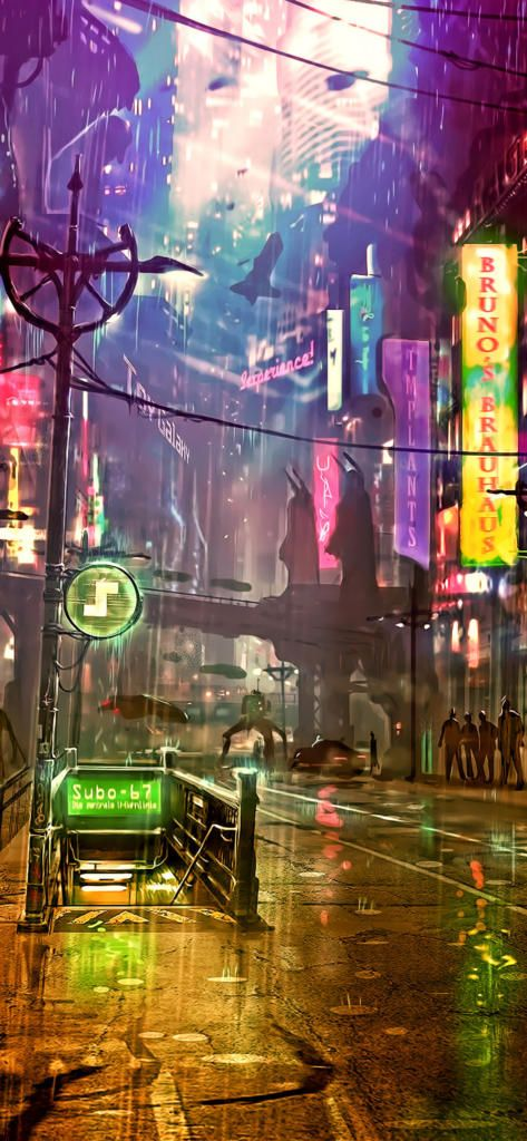 Iphone X 4k Wallpapersfuturistic City Cyberpunk Neon Street Digital Art 4k F5 1125x2436download Free Art Cyberpunk