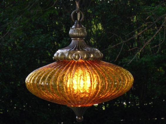 Vintage Mid Century Amber Crackle Ribbed UFO Hanging Swag Lamp Light