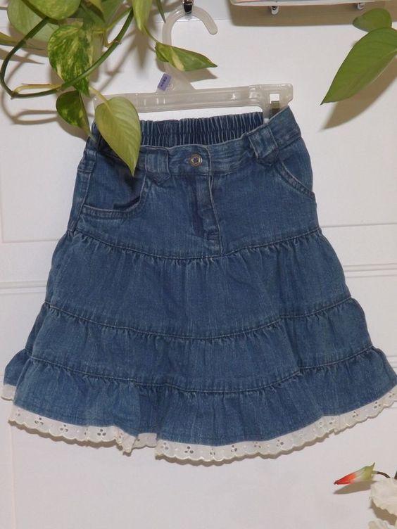 #girlsclothing Girls, George Denim Skirt w/white ruffled lace  Sz. 3T #George