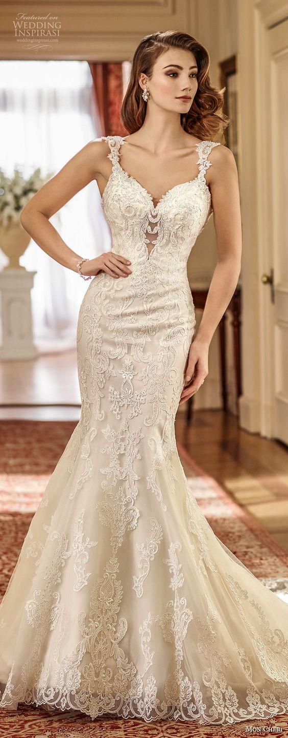 elegant mermaid wedding dress open scoop back long train