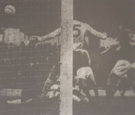 8 November 1974 Mike England and Pat Jennings are helpless as John Connolly (hidden) swoops to equalise against Spurs after Martin Dobson' s shot had struck the bar