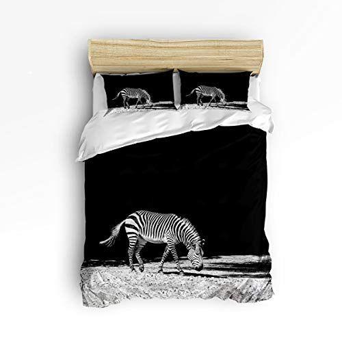 Interhear 3 Piece Bedding Printed Duvet Cover Set Queen Black And White Zebra Hotel Quality Luxury Plush Microfi Duvet Cover Sets Comforter Cover Duvet Covers
