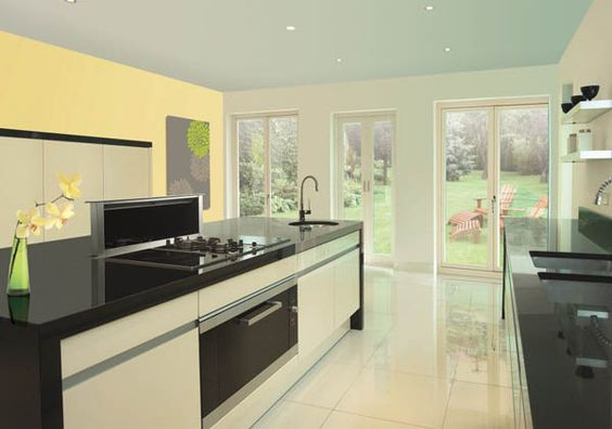 Kitchen:Kitchen Hoods Ceramic Tile Flooring Black Counter Top Vitromex Contemporary Indoor Ceramic Tile Glass Doors Yellow Wall Picture Cont...
