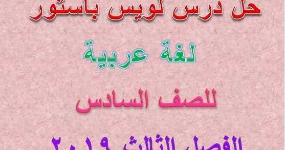 متابعى موقع مدرسة الإمارات ننشر لكم حلول درس لويس باستور مكتشف الجراثيم مادة اللغة العربية للصف السادس الفصل الدراسى الثالث 201 Louis Pasteur Arabic Calligraphy