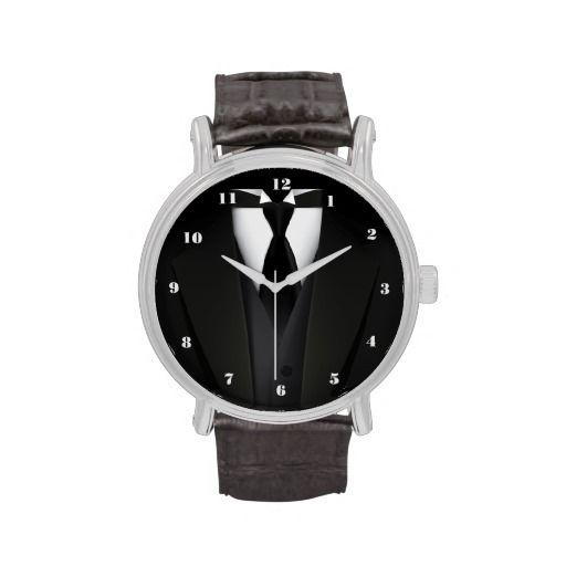 Mens' Elegant Black Suit Wristwatches