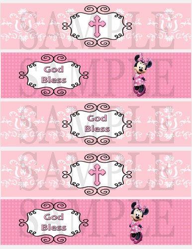 Minnie Mouse Pink Christening Water Bottle Labels  DIY Digital
