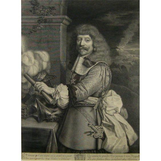17thC Portrait Engraving Henri de Lorraine Comte after Nicolas Mignard from stonehouseantiques on Ruby Lane