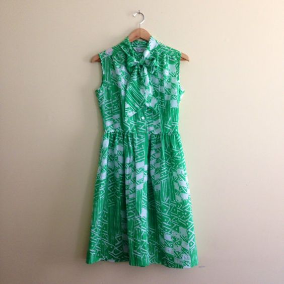 Vintage Green & White Pussy Bow Dress