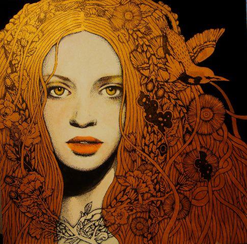 girl-2, ilustración de Yukari Terakado. Este rostro me evoca los de las mujeres pintadas por Mucha.