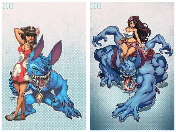Lilo Stitch ilustração - Arte no Papel Online