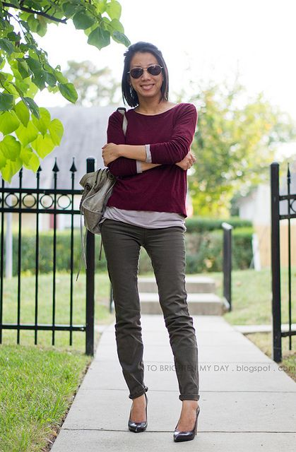 Burgundy sweater olive pants by brightenday via flickr for What goes with burgundy shirt