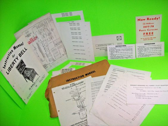Williams LIBERTY BELL Original 1977 PINBALL MACHINE Manual Lot Schematic Cards…
