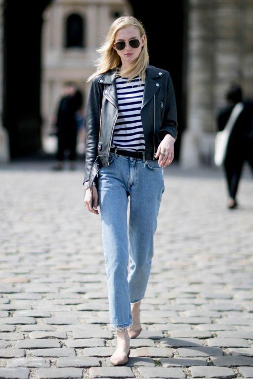 Model Street Style black jacket jeans @roressclothes closet ideas