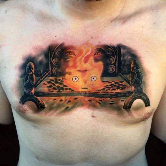 Howl's Moving Castle, Calcifer tattoo Le Château ambulant, Calcifer Tatouage
