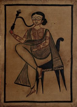 Uttam Chitrakar - Lady Smoking a Hookah | The Story by Saffronart
