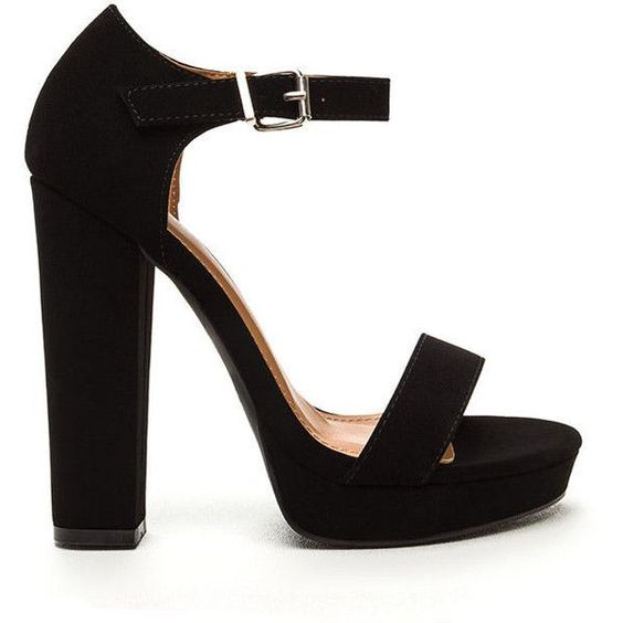 BLACK Glam Life Faux Nubuck Platform Heels ($40) ❤ liked on