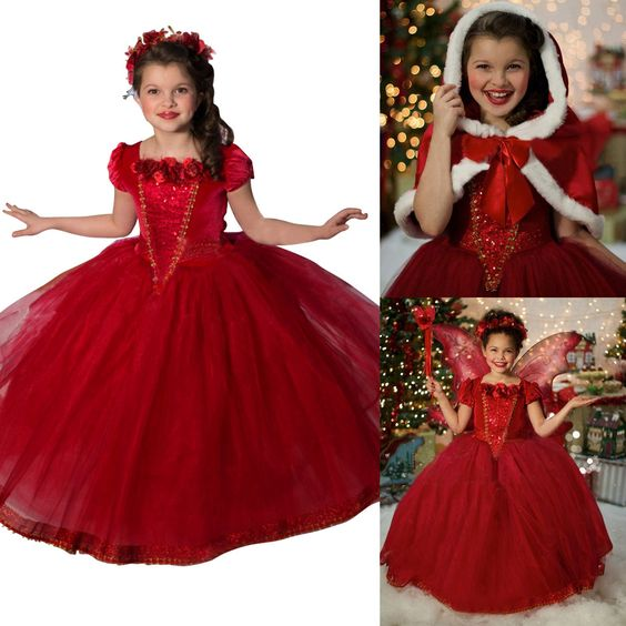 Princess Girls red Costume Cosplay Fancy Party Girls Wedding Dress with Fur Trim Cape (3-4years, red)