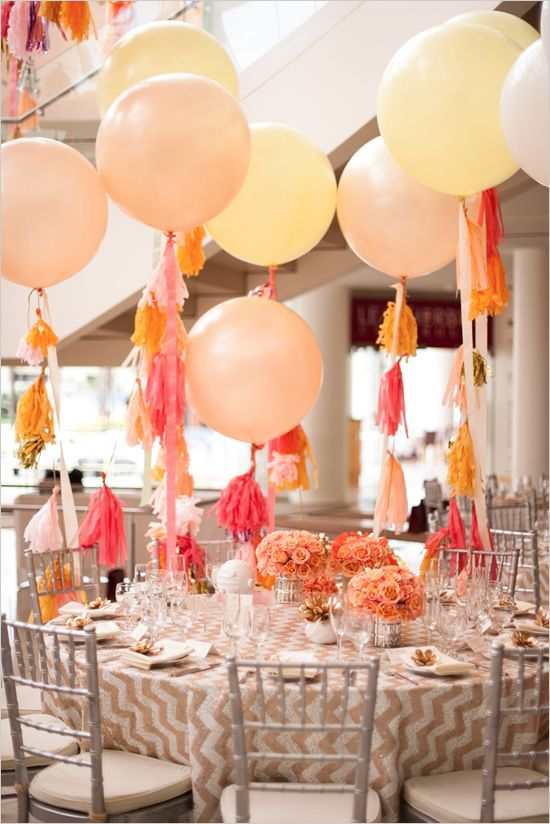 giant balloon used for reception decor #giantballoons  #weddingballoons #weddingchicks http://www.weddingchicks.com/2014/01/07/diy-tassel/