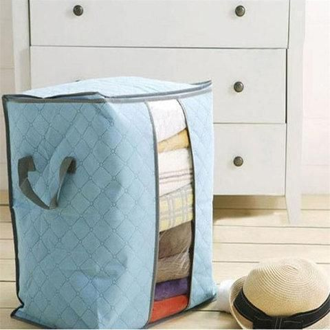 Foldable Storage Bins Clothes Blanket Closet Organizer Bag Case In 2020 Storage Bags For Clothes Quilt Storage Fabric Storage Boxes