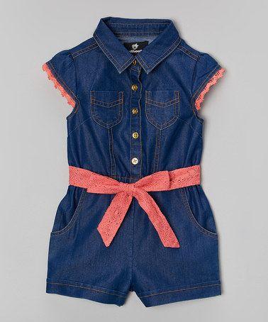Another great find on #zulily! Dark Wash Denim Romper - Infant, Toddler & Girls #zulilyfinds