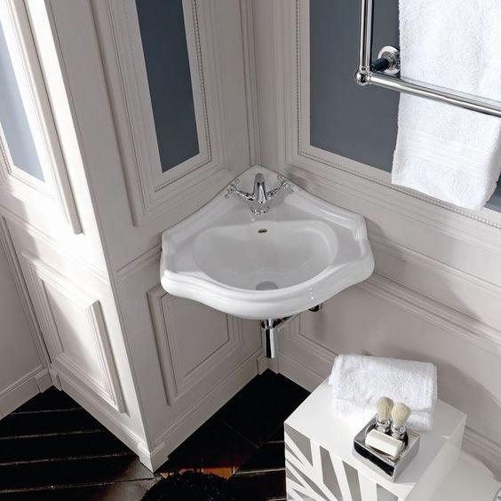 Retro Ceramic 17 Corner Bathroom Sink With Overflow Corner Sink Bathroom Wall Mounted Bathroom Sinks Bathroom Sink Design