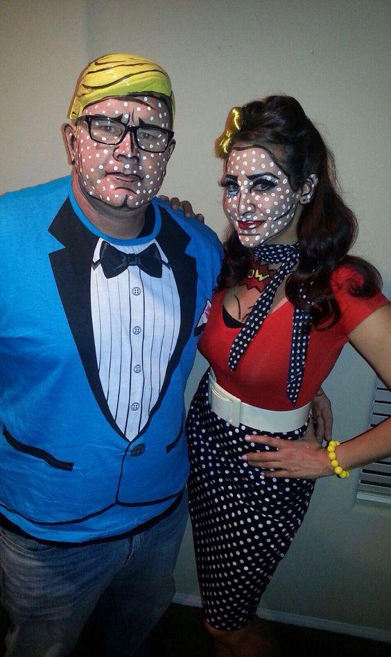 Pop art comic book Halloween makeup make and female pin up hair