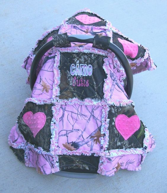 Pink Camo Mossy Oak Baby Infant Carseat Tent by Stitchesbysteph