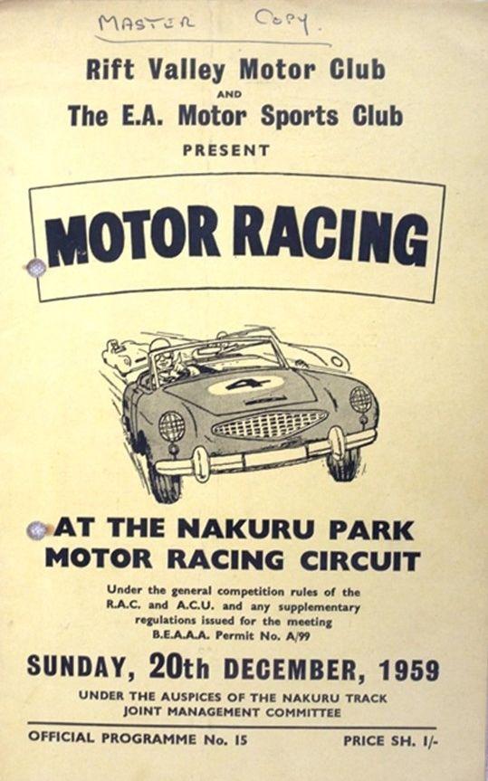 Nakuru Motor Racing Programme From December 1959 In 2020 Nakuru Racing Circuit Sports Clubs