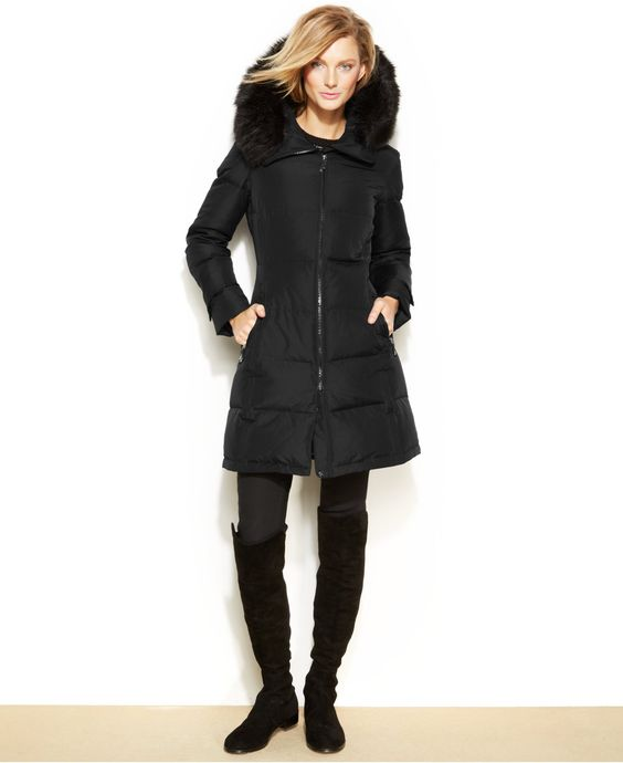 Canada Goose toronto sale shop - Calvin Klein Hooded Faux-Fur-Trim Quilted Down Puffer Coat - Coats ...