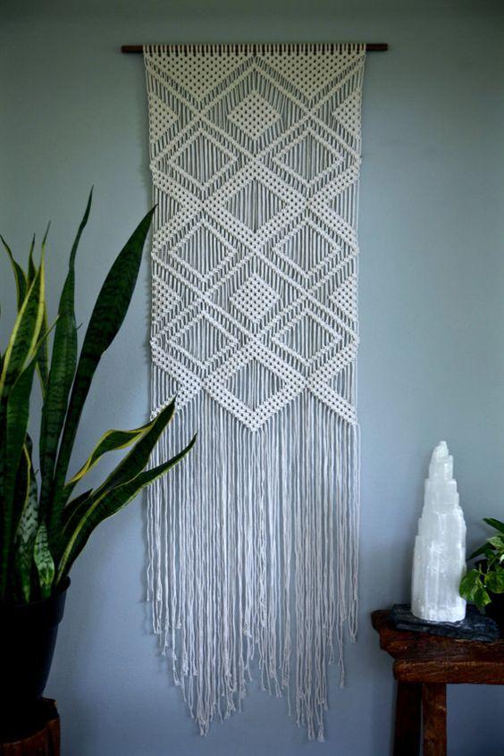 Large Macrame Wall Hanging Natural White Cotton Rope On