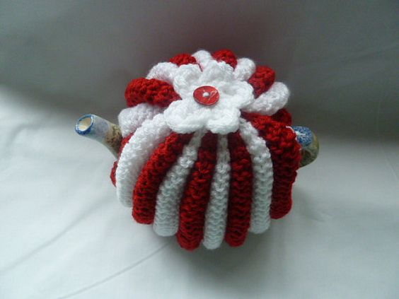 hand knitted tea cosy cosie red  and white small pot by TWINKKNITS, £13.00