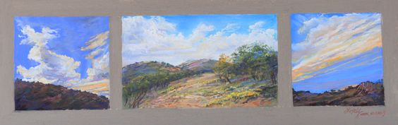 """Texas plein air pastel """"MORNING, NOON AND NIGHT ON THE RANCH"""" three tiny paintings on a single 6"""" x 18"""" panel by Lindy Cook Severns 2013. $1700 OldSpanishTrailStudio.com"""