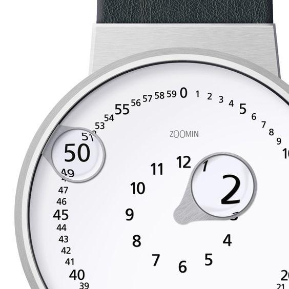 Zoomin Watch é um conceito baseado em uma características da lente. Ambas as mãos, hora e minuto tem um pequenas lentes integradas para magnificar pequenos dígitos do relógio.
