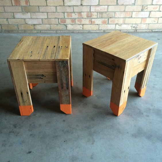 Colour dipped recycled timber stools